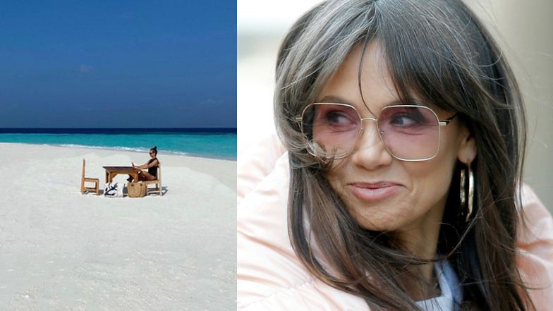 """Kinga Rusin prezentuje swoje """"BIURO"""" na Malediwach, a fani dopytują, czy nie szuka asystentki. """"Praca W RAJU"""""""