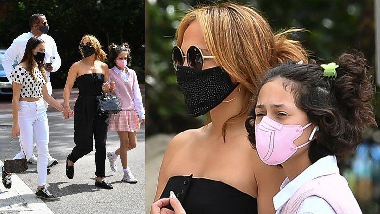 Jennifer Lopez w czarnym kombinezonie idzie na lunch z córką i pasierbicą (ZDJĘCIA)