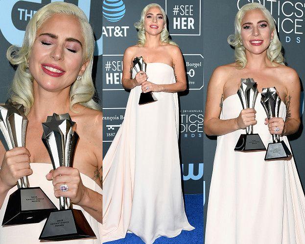 """Lady Gaga w prześcieradle odbiera kolejne nagrody za """"Narodziny gwiazdy"""""""