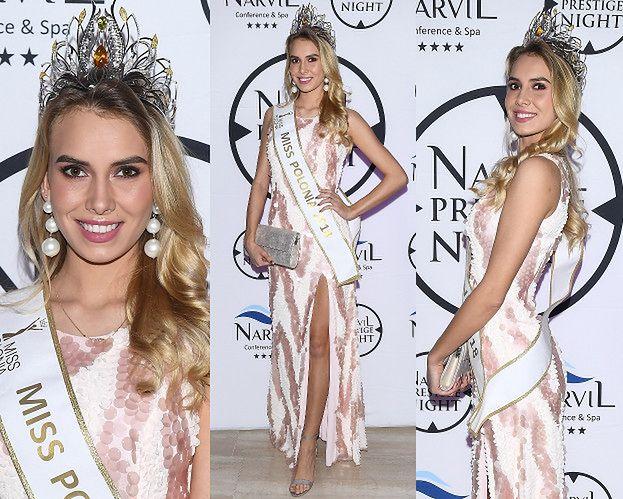 Miss Polonia 2018 wdzięczy się na ściance w hotelu