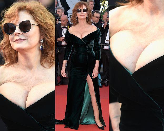 Ściśnięte, 70-letnie piersi Susan Sarandon na czerwonym dywanie w Cannes! (ZDJĘCIA)