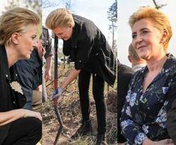 """Agata Duda w luźnej stylizacji sadzi drzewa. """"Lasy są nam bardzo potrzebne"""" (FOTO)"""