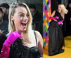 Margot Robbie pozuje w staniku z piórami na londyńskiej premierze nowego filmu o Harley Quinn (ZDJĘCIA)