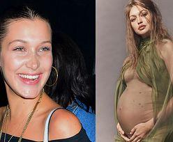 """Bella Hadid WYPINA brzuch, pozując przy ciężarnej siostrze: """"Mój po burgerze, a Gigi OD ZAYNA"""" (FOTO)"""