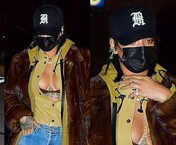 Rozgogolona Rihanna w ubraniach najbardziej ekskluzywnych marek wietrzy dekolt w drodze na randkę z ASAPem (ZDJĘCIA)