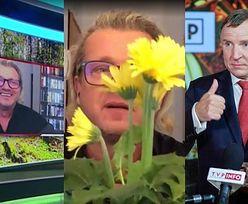 Jarosław Jakimowicz celebruje narodziny córki Jacka Kurskiego, wymachując na wizji doniczką z kwiatami
