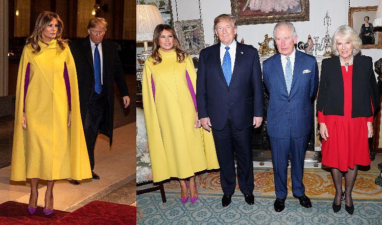 Melania Trump w kanarkowej pelerynie towarzyszy Donaldowi Trumpowi na audiencji u księcia Karola i księżnej Camilli (ZDJĘCIA)
