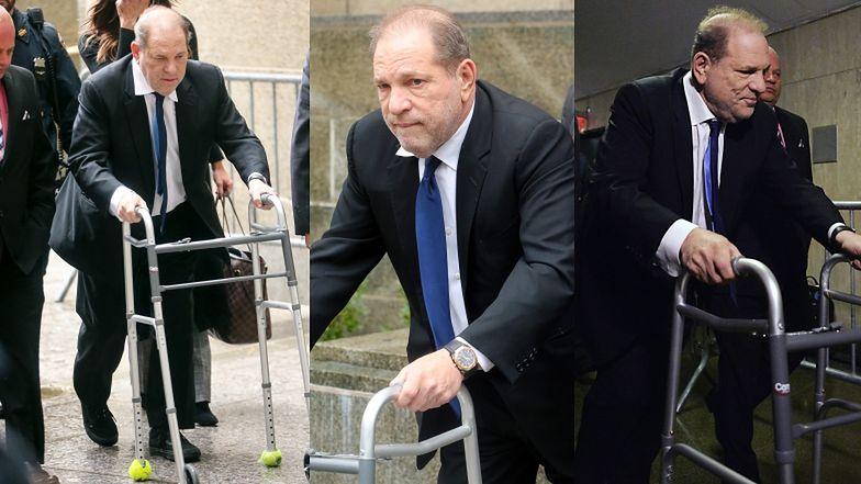 Zmizerniały Harvey Weinstein wychodzi z sądu wspierając się na balkoniku (ZDJĘCIA)