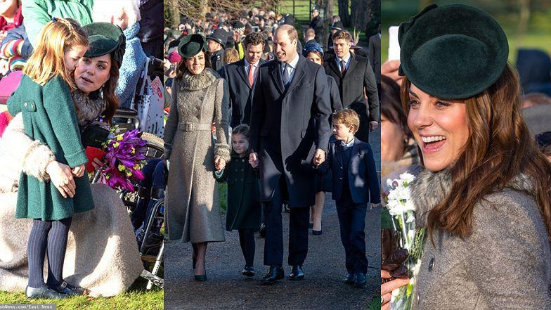 Książę William i księżna Kate wędrują z dziećmi do kościoła na świąteczną mszę (ZDJĘCIA)