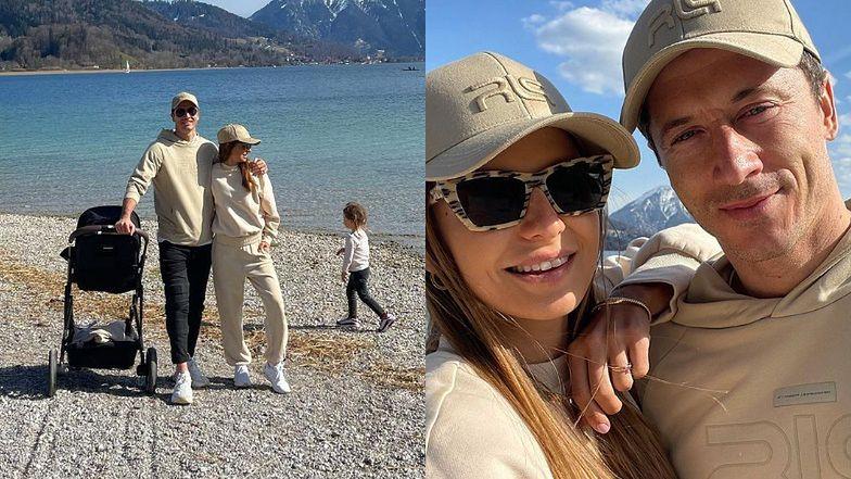 """Robert i Anna Lewandowscy cali na beżowo podziwiają bawarskie krajobrazy z Klarą i Laurą: """"Słońce. Weekend. Natura"""" (ZDJĘCIA)"""