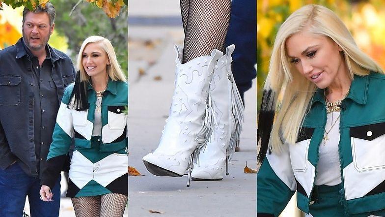 Gwen Stefani w kowbojkach prezentuje zgrabne nogi podczas spaceru z narzeczonym (ZDJĘCIA)