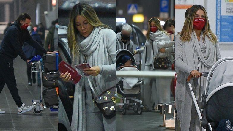 Obładowani bagażami Małgorzata Rozenek i Radosław Majdan meldują się na lotnisku o 5 nad ranem