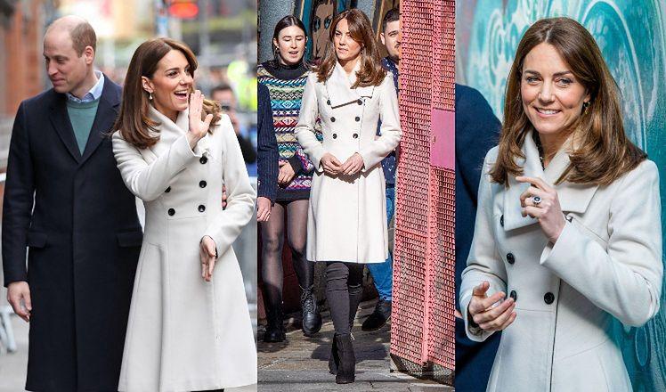 """Zaangażowana księżna Kate """"recyklinguje"""" biały płaszcz, który służy jej już OD 13 LAT (ZDJĘCIA)"""