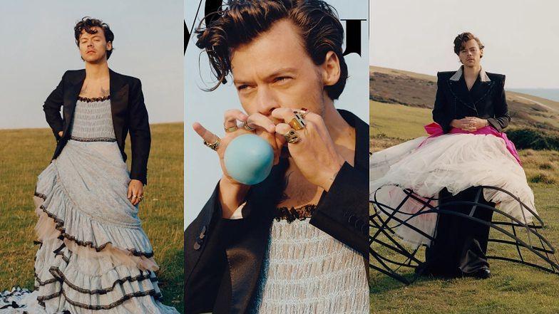 """Harry Styles pierwszym mężczyzną W HISTORII z własną okładką amerykańskiego """"Vogue'a""""! (ZDJĘCIA)"""