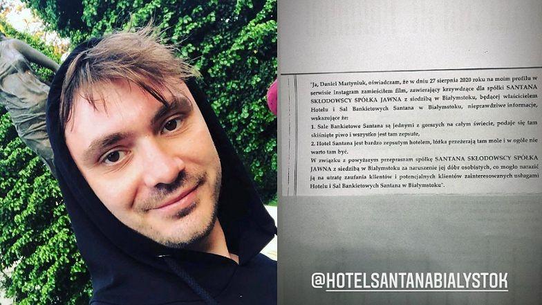"""""""Skruszony"""" Daniel Martyniuk PRZEPRASZA hotel w Białymstoku: """"Zamieściłem film zawierający NIEPRAWDZIWE INFORMACJE"""""""