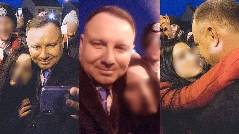 """Kobieta z Twittera publikuje zdjęcia z Andrzejem Dudą i wyznaje: """"Mieć Cię tak blisko, poczuć ciepło Twojej szyi na moich ustach…"""""""