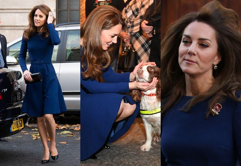 Szczupła księżna Kate spotyka się z ofiarami ataku terrorystycznego i tuli policyjnego psa