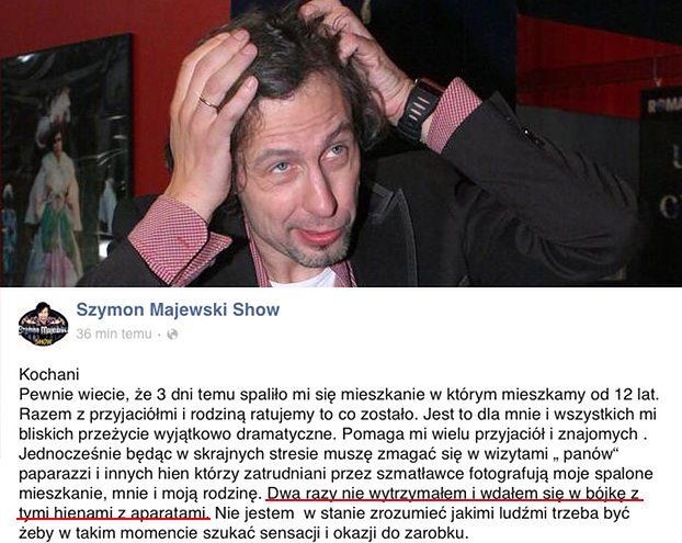 """Majewski: """"WDAŁEM SIĘ W BÓJKĘ z hienami z aparatami!"""""""