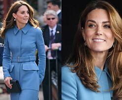 Kate Middleton cała w błękicie podczas chrzcin statku badawczego