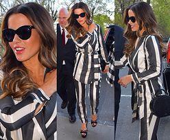 Promienna Kate Beckinsale promuje serial w pasiastej piżamce