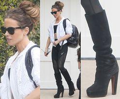 Kate Beckinsale wraca z siłowni w kozakach na obcasie...