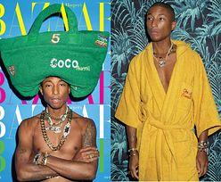 """Wiecznie młody Pharrell Williams pozuje z torbą na głowie w sesji dla """"Harper's Bazaar"""""""