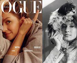Naturalna Gisele Bundchen pozuje z psem na głowie