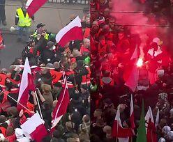 """""""Patrioci"""" okładają się flagami na Marszu Niepodległości..."""