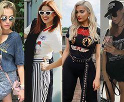Szalone koszulki z nadrukami w stylizacjach celebrytek
