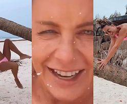 Nieugięta Małgorzata Rozenek wdrapuje się na palmę w różowiutkim bikini! Zwinna niczym małpka? (ZDJĘCIA)