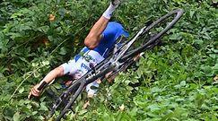#dziejesiewsporcie: niesamowity pech kolarza! Prowadził w wyścigu, ale... wylądował w krzakach