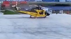 Niebezpieczny start śmigłowca. Dramatyczne nagranie z lotniska