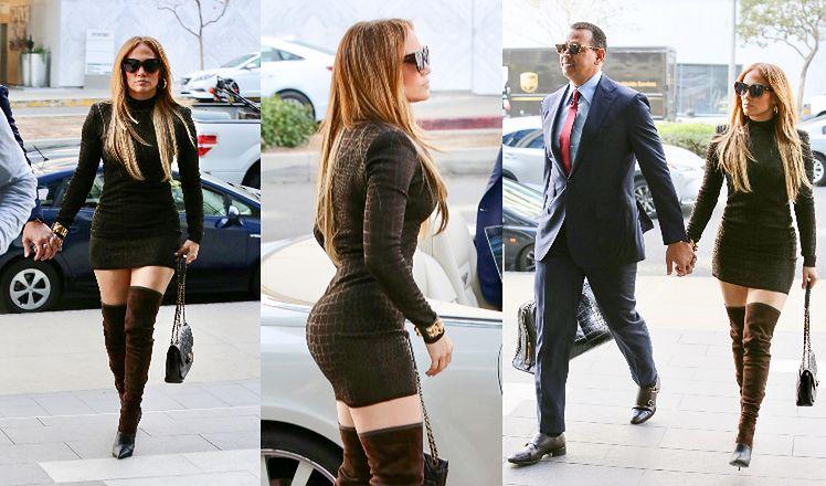 50-letnia Jennifer Lopez zachwyca obłędną figurą w obcisłej sukience i zamszowych kozakach