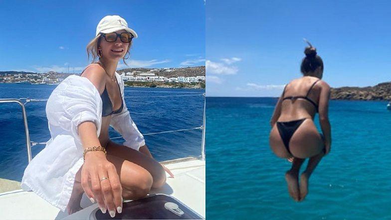 """Urlopowiczka Julia Wieniawa w bikini skacze """"na bombę"""" do morza (ZDJĘCIA)"""