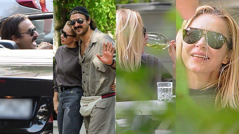 Katarzyna Warnke i Piotr Stramowski korzystają ze zniesienia obostrzeń, popijając wino w knajpie