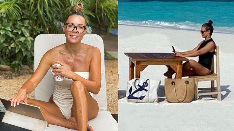 """Zapracowana Małgorzata Rozenek prowadzi swoje biznesy Z LEŻAKA: """"Dlatego tak mało tu zdjęć pięknych plaż"""""""