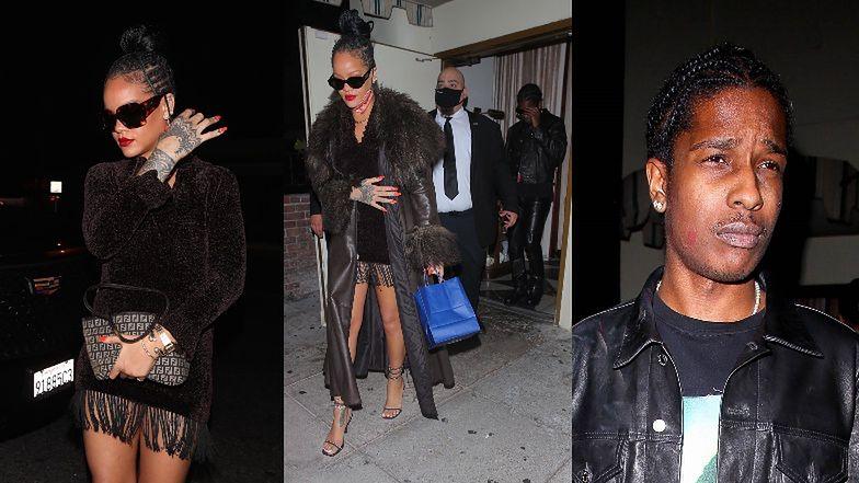 Szczupła Rihanna w kusej sukience i skwaszony ASAP Rocky idą na romantyczną kolację w Hollywood (ZDJĘCIA)