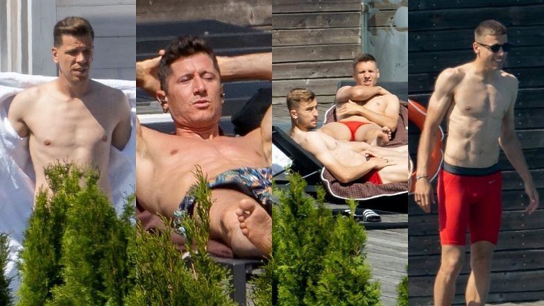 Piłkarze reprezentacji Polski wylegują się nad basenem: Robert Lewandowski, Wojciech Szczęsny, Jan Bednarek (ZDJĘCIA)