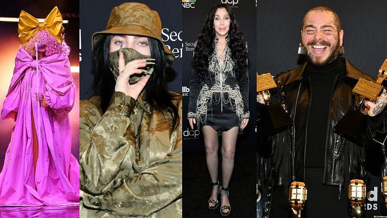 Gwiazdy pozują na gali Billboard Music Awards: Billie Eilish w maseczce, zgrabne nogi 74-letniej Cher i zakamuflowana Sia