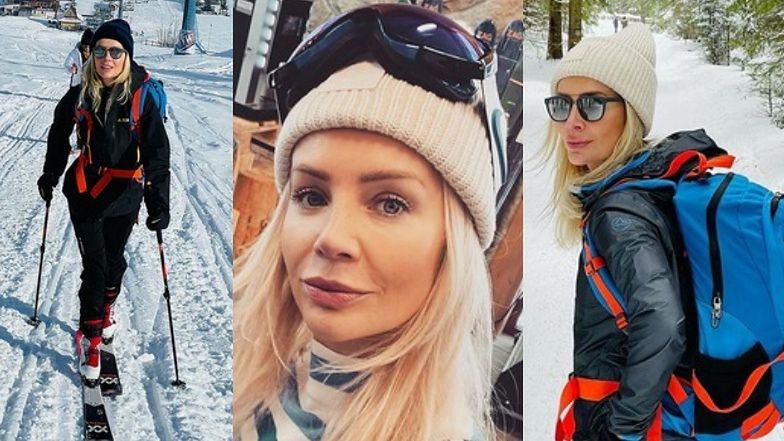 Agnieszka Woźniak-Starak z plecakiem zachwala swój sposób na zamknięte stoki