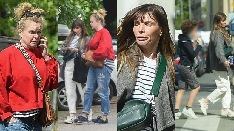 Agnieszka Dygant i Daria Widawska spacerują z synami ulicami Warszawy (ZDJĘCIA)