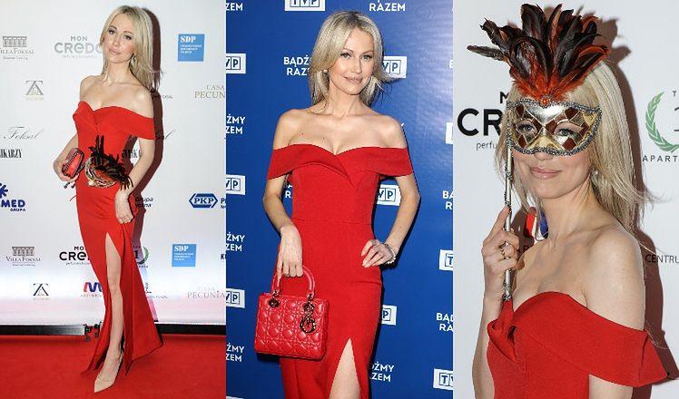"""Magdalena Ogórek """"recyklinguje"""" czerwoną sukienkę, którą miała na przyjęciu przed dwoma laty (ZDJĘCIA)"""