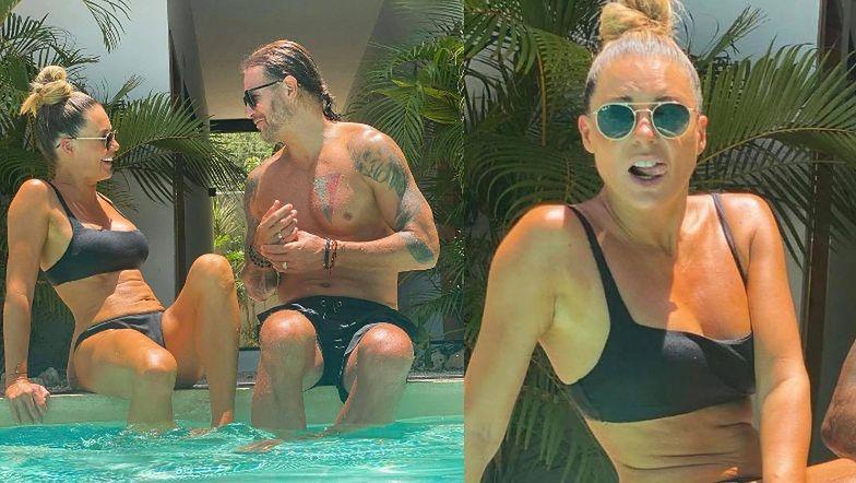 """Pomarańczowa Małgorzata Rozenek zaleca się do Radzia nad basenem: """"Znalazłam osobę, na którą MIŁO SIĘ PATRZY"""" (FOTO)"""