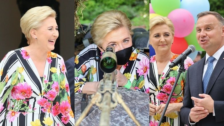 Pstrokata Agata Duda w towarzystwie męża promuje bezpieczne wakacje w sukni w kaktusy (ZDJĘCIA)