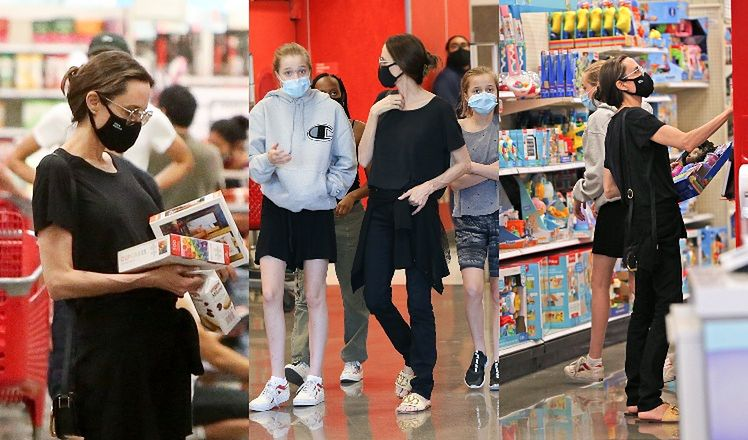 Angelina Jolie zabrała trzy swoje córki - Zaharę, Shiloh i Vivienne na zakupy do Targetu.