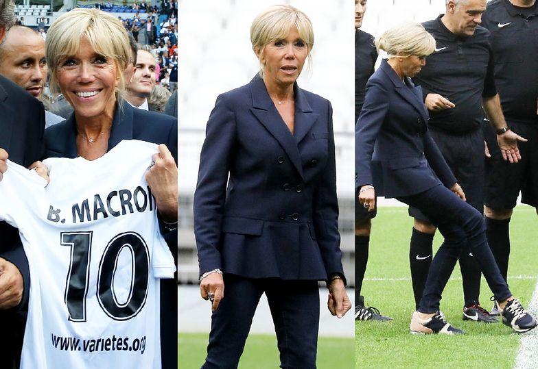 Wesoła Brigitte Macron gra w piłkę na paryskim stadionie