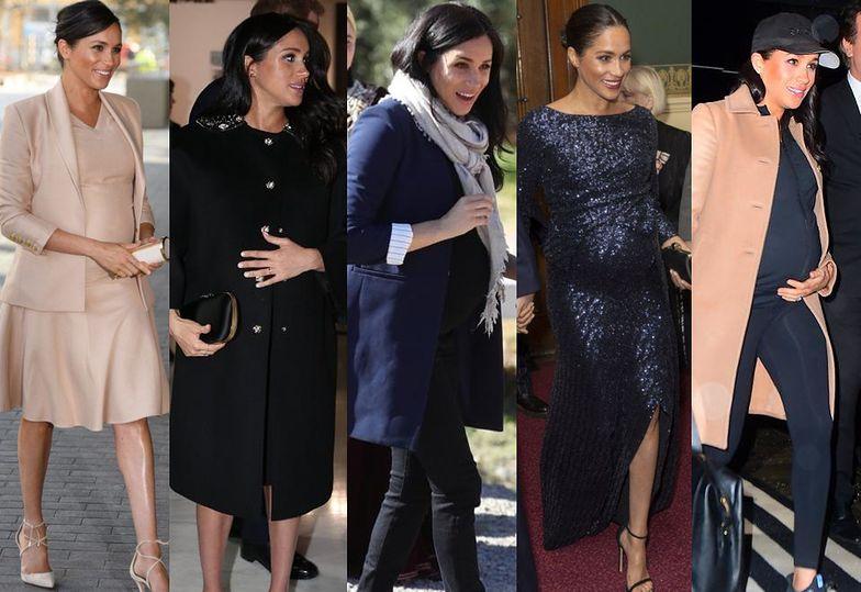 Ciążowe stylizacje Meghan Markle: od eleganckiej czerni, przez wygodne parki, po morze cekinów