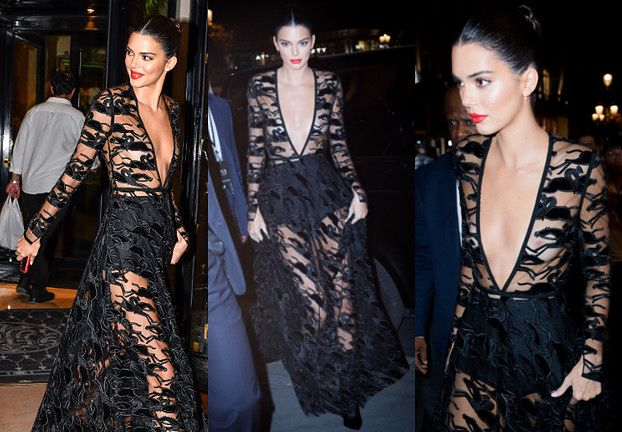 Kendall Jenner eksponuje sutki w prześwitującej sukni w konie