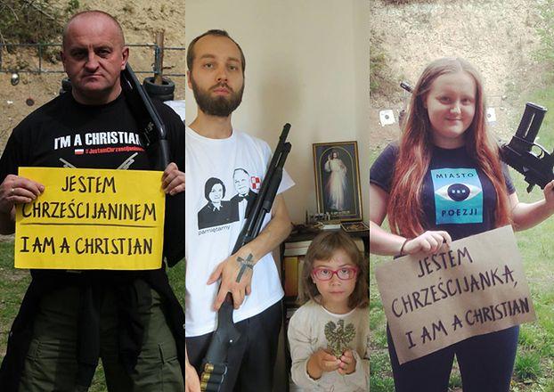 """""""Dumni chrześcijanie"""" pozują z bronią, Jezusem, Orłem Białym i... Lechem Kaczyńskim (ZDJĘCIA)"""