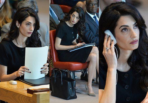 Poważne minki Amal Clooney na posiedzeniu Rady Bezpieczeństwa
